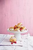 Raspberry cream puffs