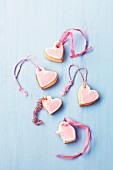 Heart-shaped frosted shortbreads