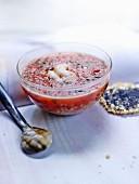 Tomatensuppe mit Quinoa und Garnelen, Grana-Padano-Hippe mit Mohnsamen