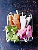 Assortment of different flavored fruit ice cream bars