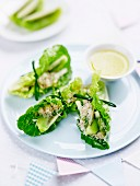 Lettuce rolls filled with crab and kiwi