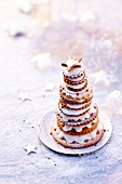 Biscuit and cream layered pyramid