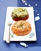 Seafood tartare duo