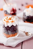 Gingerbread and blueberry dessert with meringue in glasses