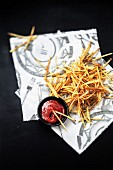Straw potatoes with ketchup