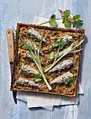 Buckwheat and sardine savoury tart