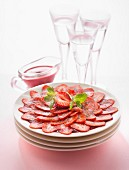 Strawberry carpaccio and summerfruit puree