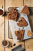 Chocolate waffles with tonka beans