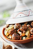 Zucchini and ground vegetable ball tajine