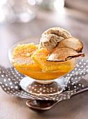 Orange fruit salad with apple-cinnamon infusion, cinnamon ice cream