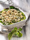 Salt-cod and green cabbage gratin