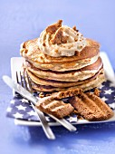 Pancakes with speculos ginger biscuit mousse and maple syrup