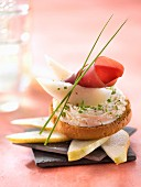 Cheese mousse,pear and Grisons meat on toast