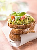 Zucchini caviar crostini