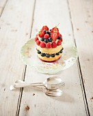 Small summer fruit sponge cake