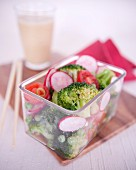 Broccoli,sliced radish and tomato diet salad
