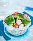 Take-away broccoli,sliced radish and tomato diet salad
