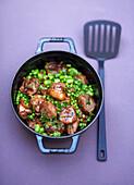 Pea, bean and lamb casserole dish