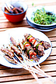 Beef skewers and mini grilled sausages