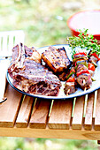 Outdoor grilled meat plate