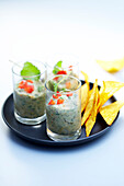 Zucchini caviar with mint and tacos