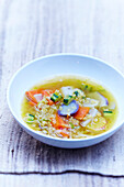 Vegetable soup and coral lentils