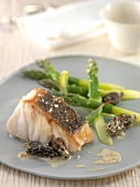 Roasted pike-perch with creamy morels and steamed green asparagus