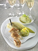 Sweetbread skewer and stewed and mashed fennel