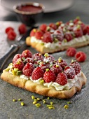 Raspberry, Chibouste cream and pistachio tartlet