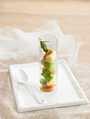 Verrine of white and green asparagus with romesco sauce