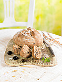Bread with olives, oregano and wheat bran