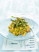 Pumpkin, chestnut and green asparagus risotto
