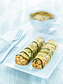Cannelloni of zucchini with tempeh in béchamel sauce with curry and coriander