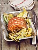 Crispy pork tenderloin with kale