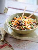 Soba noodle,salmon and vegetable salad