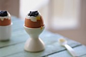 Soft-boiled egg with caviar