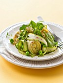Artichoke heart,green asparagus,pea and spinach salad