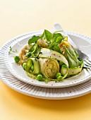Artichoke heart,green asparagus,pea and spinach salad