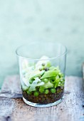 Lentil,leek and pea salad