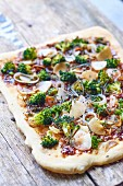 Broccoli,radish and onion square pizza