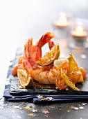 Sauteed gambas with lime,kumquat and lime chutney