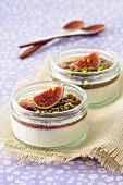 Vanilla panna cotta with fig compote and chopped pistachios