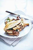 Guinea fowl breast with crispy cereals and mushrooms