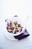 Red cabbage salad with cereals and cranberries
