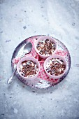 Three bowls of stracciatella dessert