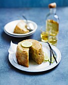 Banana,rum and lime pudding