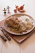 Chicken leg in creamy mushroom sauce,white rice