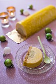 Apricot-pistachio Christmas log cake