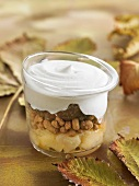 Cinnamon pear and candied chestnut crumble topped with vanilla whipped cream
