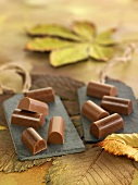 Chestnut and sweet wine chocolate bites